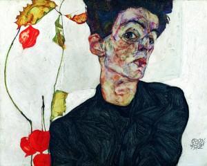 Selbstbildnis mit Lampionfrüchten, Egon Schiele 1912