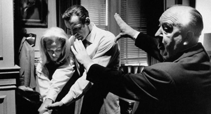 Hitchcock on set
