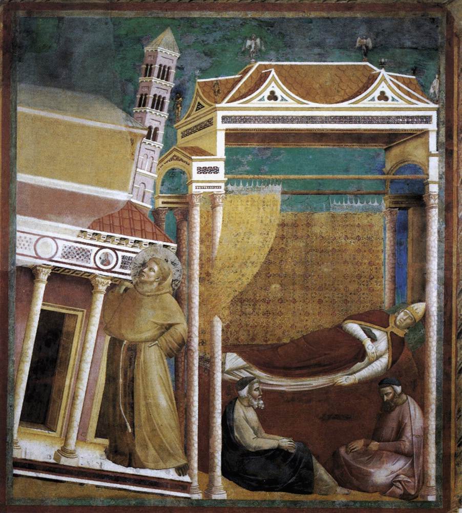 "Giotto, ""Legend of St Francis: 6. Dream of Innocent III"", Frescoe, ca. 1297-99, in the San Francesco, Assisi"
